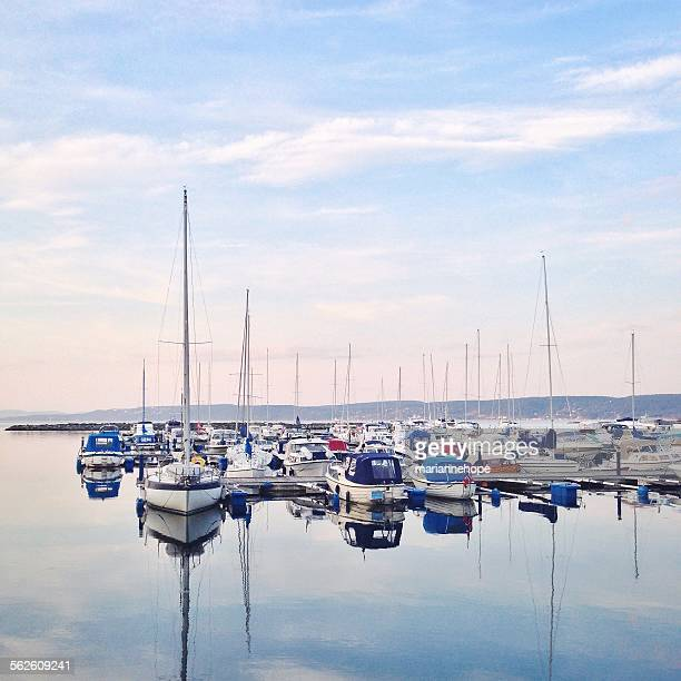 Boats in the marina, Royken, Norway