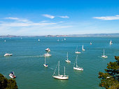 Boats in the San Francisco bay from Angel Island