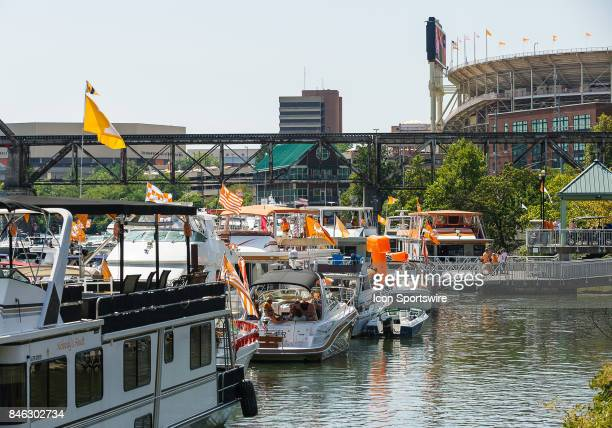 Boats in the Vol Navy on the Tennessee River outside Neyland Stadium before a game between the Indiana State Sycamores and Tennessee Volunteers on...
