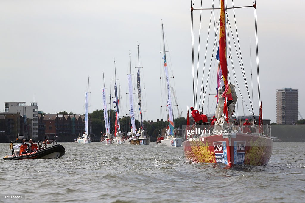 Boats, including the 'Qingdao' yacht (R), depart from St Katharine Docks for the start of the 'Clipper 2013-14 Round the World Yacht Race' on September 1, 2013 in London, England. The race is set to be the largest in the event's history with 12 yachts manned by 670 crew from over 40 different nations. The 40,000 mile, 8 leg course is set to visit six continents and take approximately eleven months to complete.