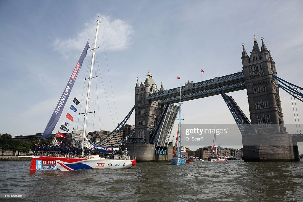 Boats, lead by the 'GREAT Britain' yacht, depart from St Katharine Docks for the start of the 'Clipper 2013-14 Round the World Yacht Race' on September 1, 2013 in London, England. The race is set to be the largest in the event's history with 12 yachts manned by 670 crew from over 40 different nations. The 40,000 mile, 8 leg course is set to visit six continents and take approximately eleven months to complete.