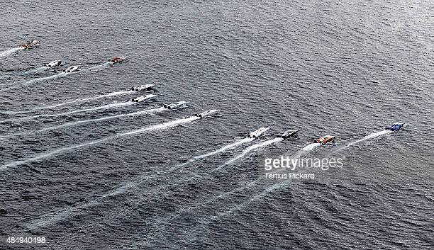 Boats leave the starting line on day 2 of the Gold Coast Grand Prix the fourth round of the UIM XCAT World Series on August 23 2015 in Gold Coast...