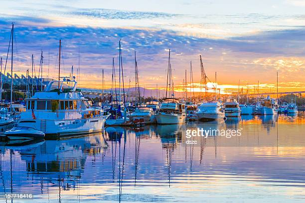 boats, marina at dawn, sunrise clouds, San Diego Harbor, California