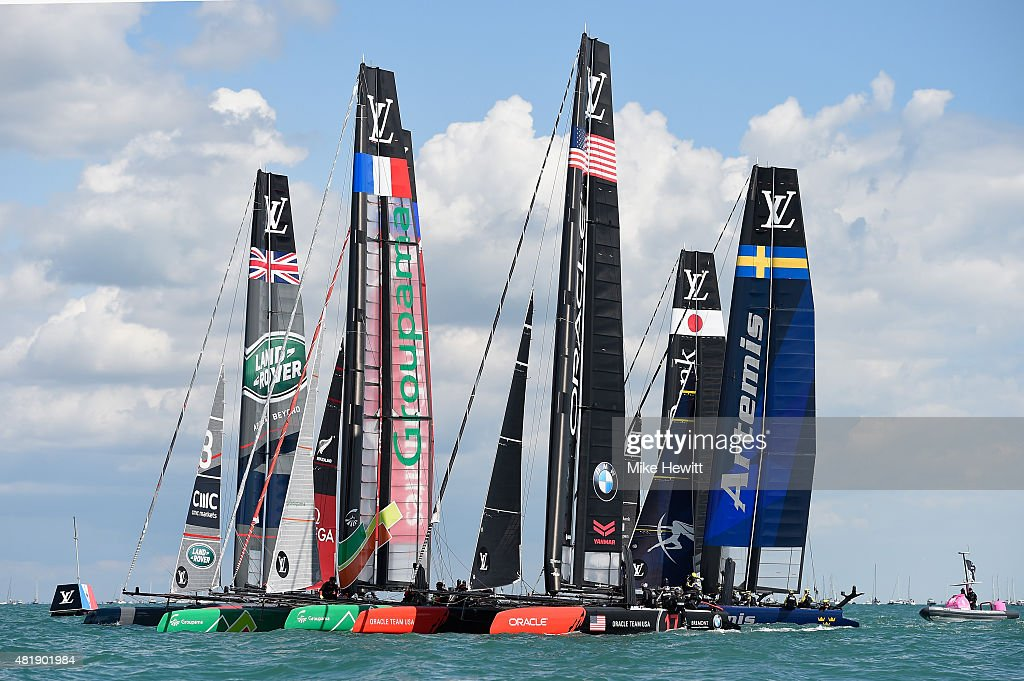 Boats mass at the start of the second race during Day Three of the Louis Vuitton America's Cup World Series on July 25 2015 in Portsmouth England