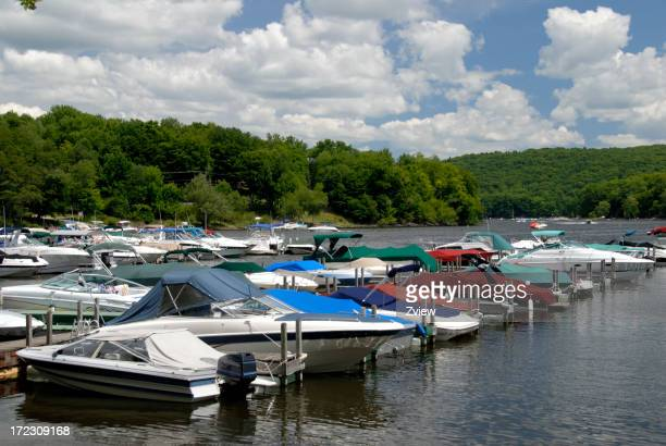 Boats Moored in Marina on Lake
