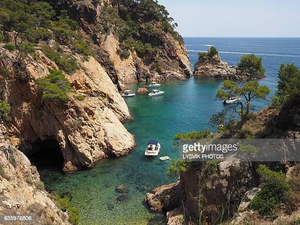 Boats moored in the bay near Palamos, Spain