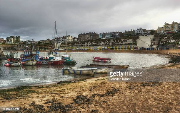 CONTENT] Boats moored in the harbour Viking Bay Broadstairs Kent as the tide is coming in