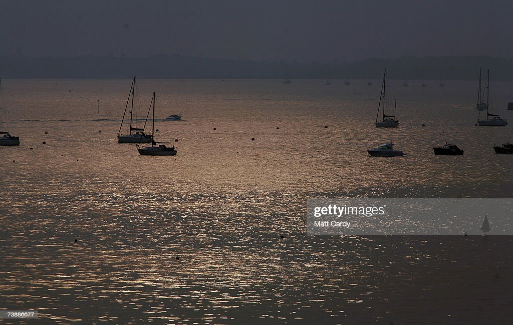 Boats moored in the harbour water in Sandbanks on April 14 2007 in Poole Dorset The area has some of the most expensive and exclusive property in the...