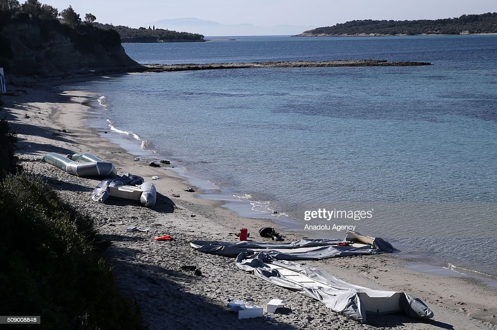 Boats of refugees are seen on the coast as Turkish gendarmerie captures around 700 refugees, who were trying to reach Lesbos Island of Greece, in operations conducted at 3 different bays, namely Pissa, Bahceli and Candarli, in Dikili district of Izmir, Turkey on February 8, 2016.