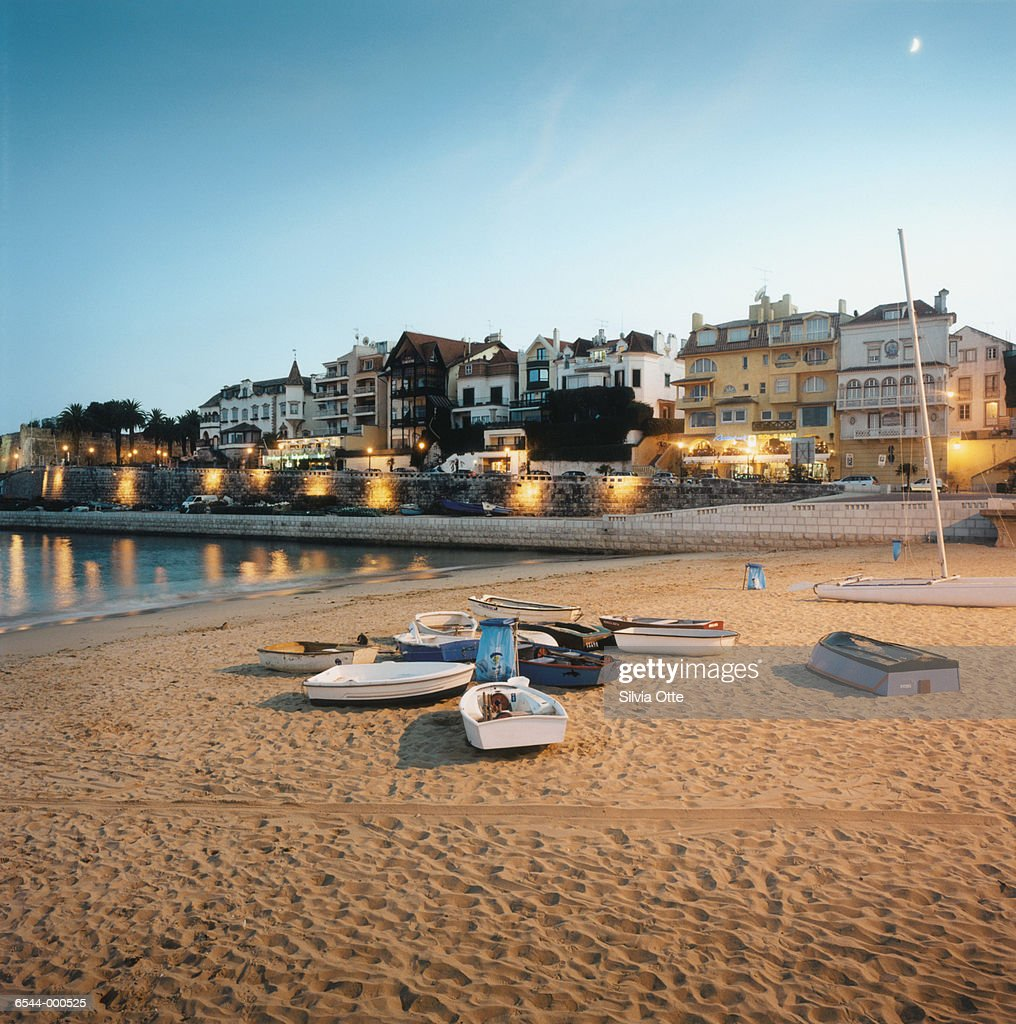 Boats on Beach at Sunset : Stock Photo