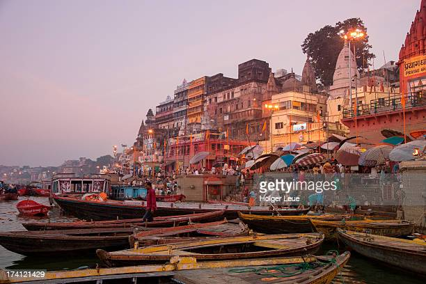 Boats on Ganges river at sunrise