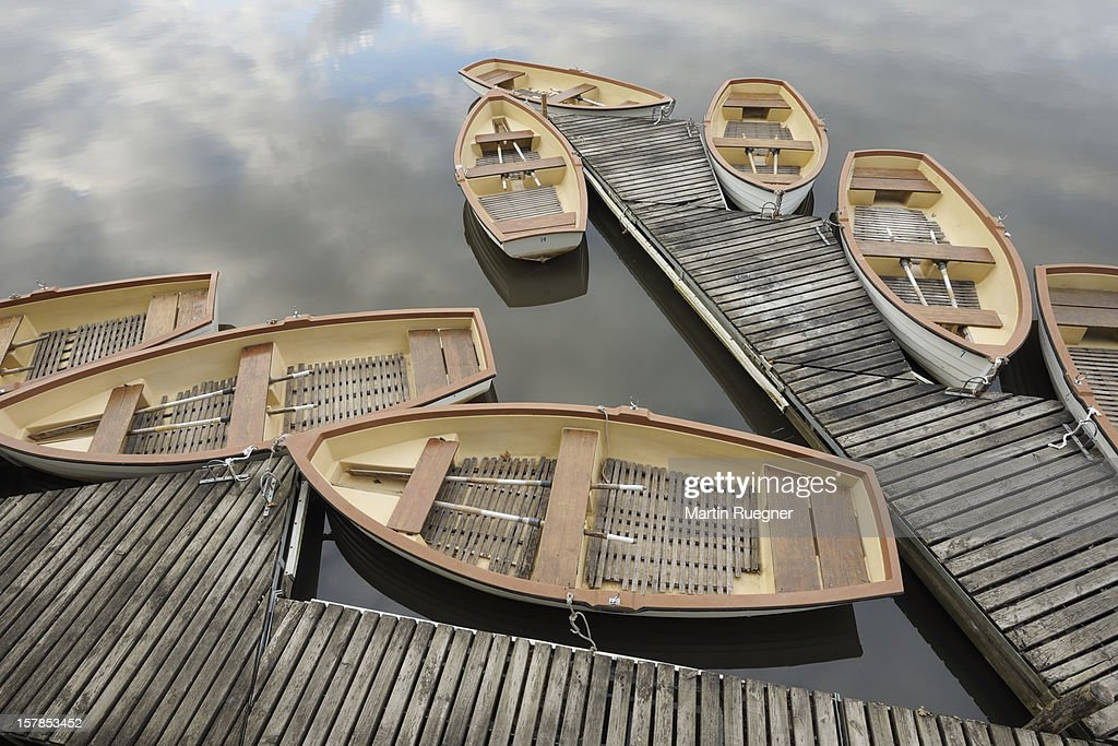 Boats on jetty at Chambord Castle.