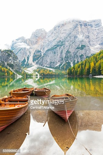 Boats on lake braies in south tyrol, italy. Closeup : Stock Photo