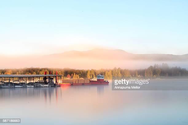 Boats on Lake Placid at sunrise, Adirondacks