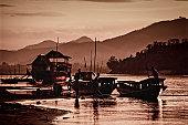 Boats on  the bank of the Mekong, Luang Prabang