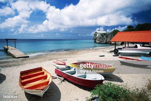 Boats on the beach, Curacao : Stock Photo