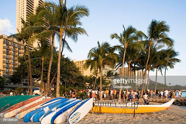 Boats on the beach, Waikiki Beach, Honolulu, Oahu, Hawaii Islands, USA