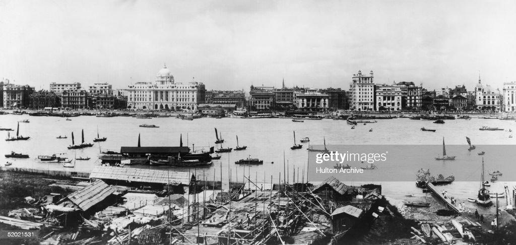 Boats on the Huangpu River in Shanghai circa 1920