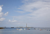 Boats on the Sea, Lighthouse in the Background, Vierge, Bretagne, France