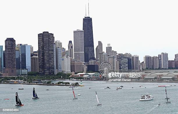 Boats race during Day 2 of the Louis Vuitton America's Cup World Series the first freshwater races in the event's history on Lake Michigan on June 12...