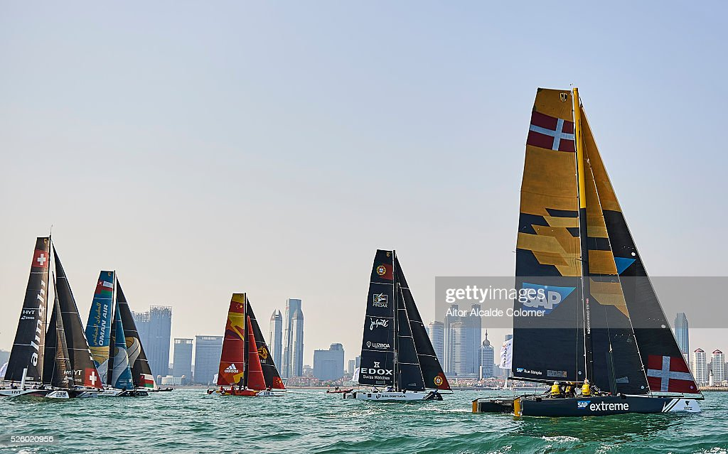 Boats races during the Extreme Sailing Series Qingdao 2016 on April 29, 2016 in Qingdao, China.