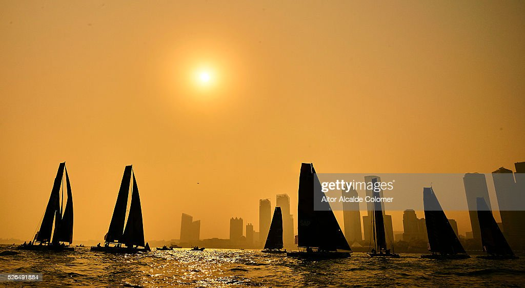 Boats races during the Extreme Sailing Series Qingdao 2016 on April 30, 2016 in Qingdao, China.