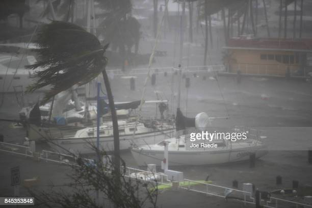 Boats ride out Hurricane Irma in a marina on September 10 2017 in Miami Florida Hurricane Irma made landfall in the Florida Keys as a Category 4...