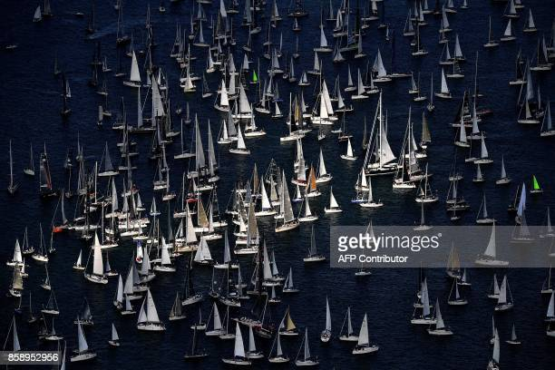 TOPSHOT Boats sail during the 49th Barcolana regatta in the Gulf of Trieste on October 8 2017 With some 2072 vessels The Barcolana has the most...