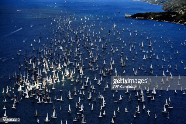 Boats sail during the 49th Barcolana regatta in the Gulf of Trieste on October 8 2017 With some 2072 vessels The Barcolana has the most particpants...
