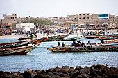 Boats surround Ngor beach Dakar, Senegal, Africa