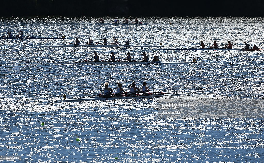 Boats wait at the start area for their race during the New Zealand Junior Rowing Regatta on February 23, 2013 in Auckland, New Zealand.