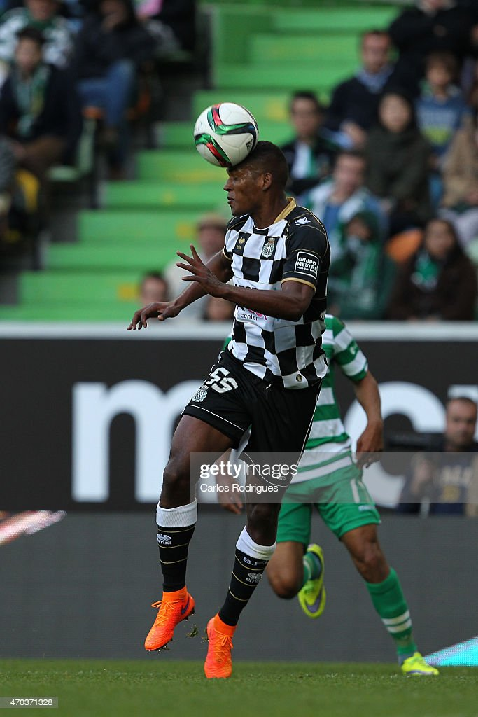 Boavista's defender <a gi-track='captionPersonalityLinkClicked' href=/galleries/search?phrase=Brayan+Beckeles&family=editorial&specificpeople=7834358 ng-click='$event.stopPropagation()'>Brayan Beckeles</a> during the Primeira Liga match between Sporting CF and Boavista at Estadio Jose Alvalade on April 19, 2015 in Lisbon, Portugal.