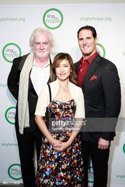 Bob Aldridge Min Kwon and James Valenti during the Sing for Hope Gala 2017 at Tribeca Rooftop on October 16 2017 in New York City
