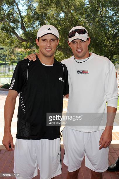 Bob and Mike Bryan arrive to the Bryan Brothers' AllStar Tennis Smash benefiting local and national charities at the Sherwood Country Club in...