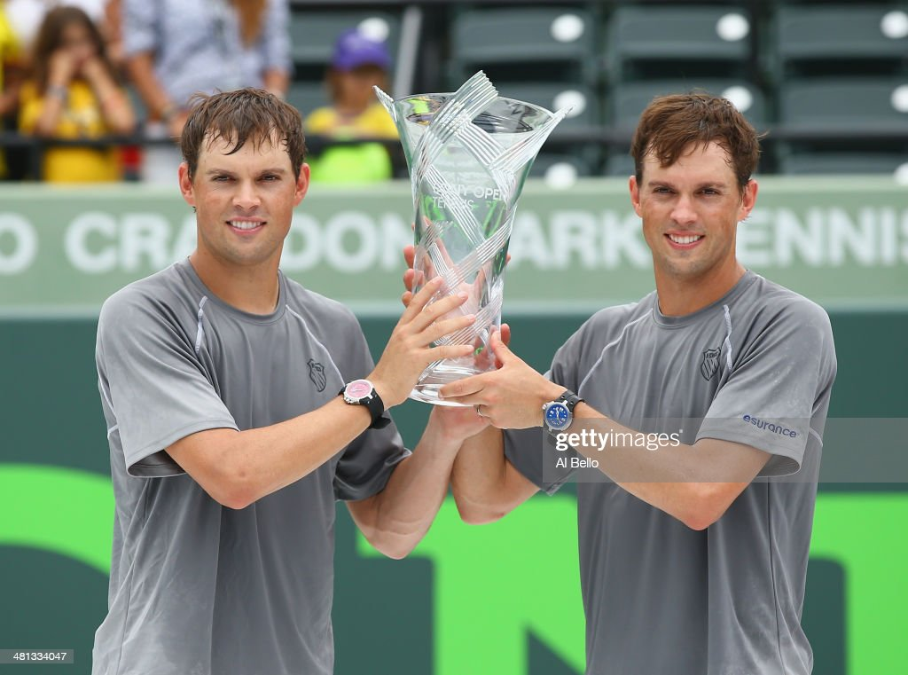 Bob and <a gi-track='captionPersonalityLinkClicked' href=/galleries/search?phrase=Mike+Bryan&family=editorial&specificpeople=204456 ng-click='$event.stopPropagation()'>Mike Bryan</a> of the USA hold the winners trophy after defeating Juan Sebastian Cabal and Robert Farah of Columbia at the Men's Doubles Final on day 13 of the Sony Open at Crandon Park Tennis Center on on March 29, 2014 in Key Biscayne, Florida.