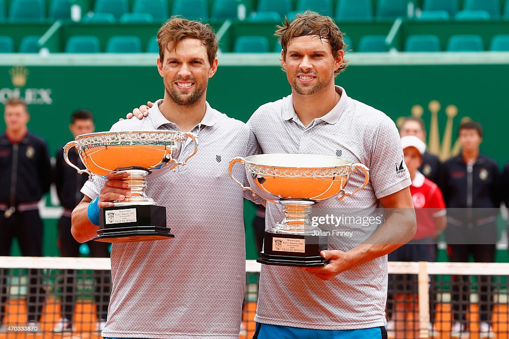 Bob and <a gi-track='captionPersonalityLinkClicked' href=/galleries/search?phrase=Mike+Bryan&family=editorial&specificpeople=204456 ng-click='$event.stopPropagation()'>Mike Bryan</a> of USA with the winners trophies after defeating Simone Bolelli and Fabio Fognini of Italy in the doubles final during day eight of the Monte Carlo Rolex Masters tennis at the Monte-Carlo Sporting Club on April 19, 2015 in Monte-Carlo, Monaco.