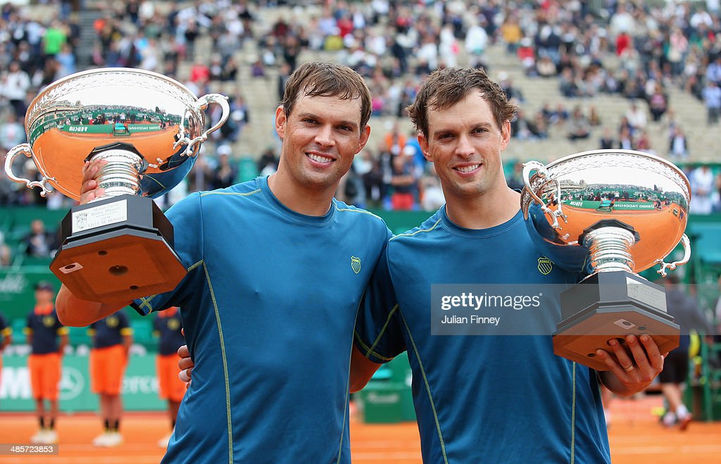 Bob and <a gi-track='captionPersonalityLinkClicked' href=/galleries/search?phrase=Mike+Bryan&family=editorial&specificpeople=204456 ng-click='$event.stopPropagation()'>Mike Bryan</a> of USA with the winners trophies after defeating Ivan Dodig of Croatia and Marcelo Melo of Brazil in the doubles final during day eight of the ATP Monte Carlo Rolex Masters Tennis at Monte-Carlo Sporting Club on April 20, 2014 in Monte-Carlo, Monaco.