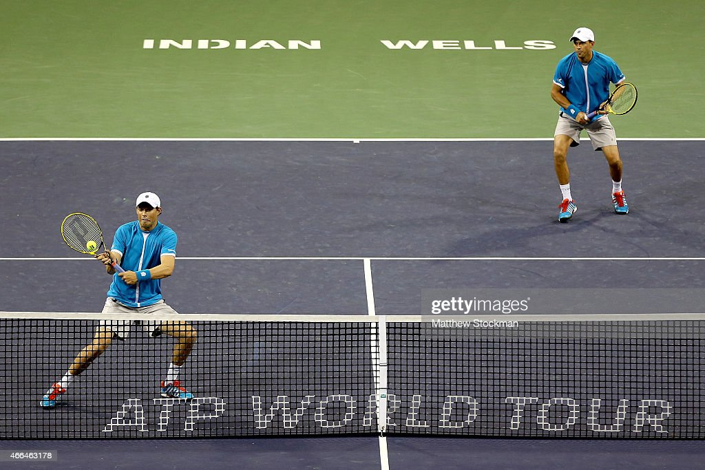 Bob and Mike Bryan play Kevin Anderson of South Africa and Jurgen Melzer of Austria during day seven of the BNP Paribas Open at the Indian Wells Tennis Garden on March 15, 2015 in Indian Wells, California.