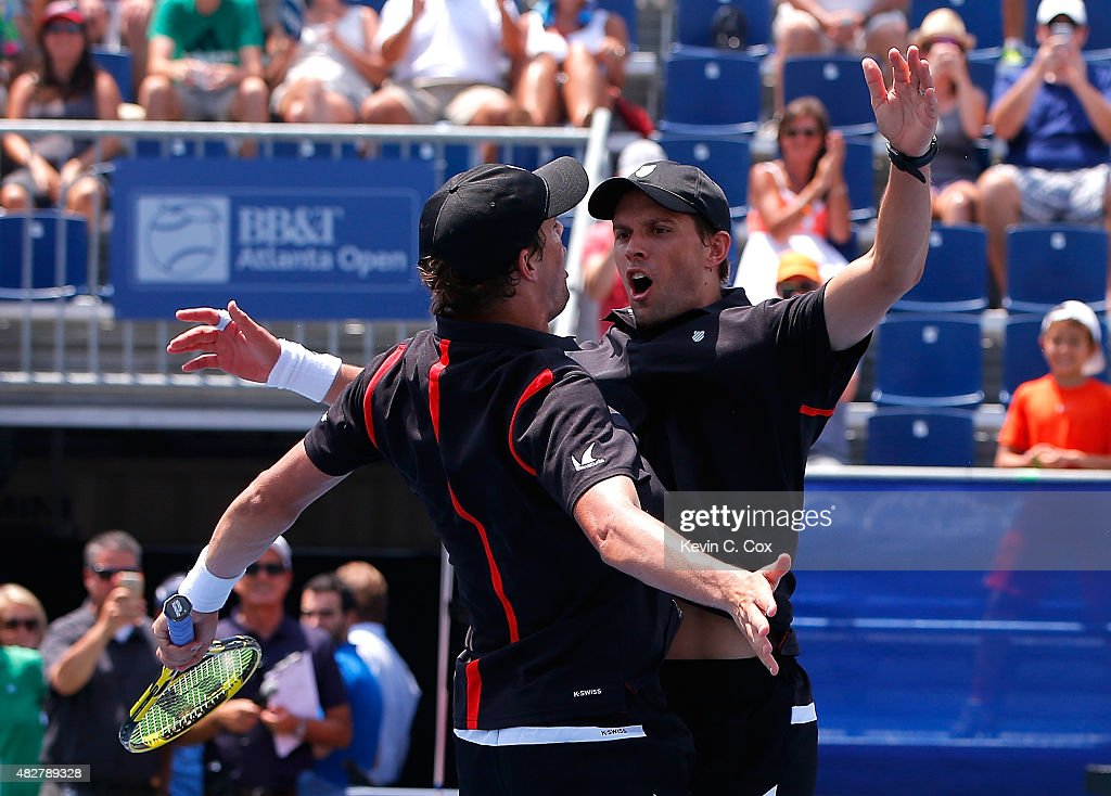Bob and <a gi-track='captionPersonalityLinkClicked' href=/galleries/search?phrase=Mike+Bryan&family=editorial&specificpeople=204456 ng-click='$event.stopPropagation()'>Mike Bryan</a> react after defeating Gilles Muller of Luxembourg and Colin Fleming of Great Britain during the BB&T Atlanta Open Final at Atlantic Station on August 2, 2015 in Atlanta, Georgia.