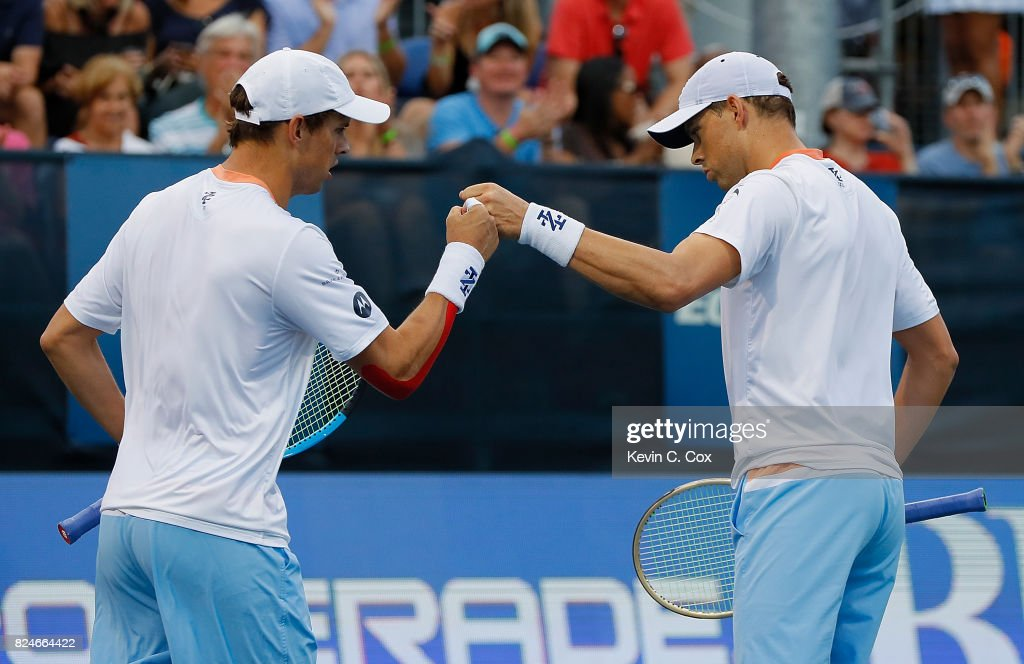 Bob and Mike Bryan react during the match against Wesley Koolhof of the Netherlands and Artem Sitak of New Zealand during the BB&T Atlanta Open at Atlantic Station on July 30, 2017 in Atlanta, Georgia.