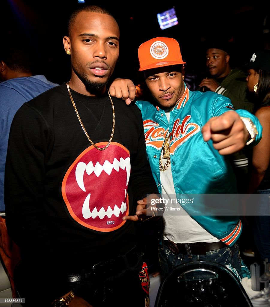 B.o.B and <a gi-track='captionPersonalityLinkClicked' href=/galleries/search?phrase=T.I.&family=editorial&specificpeople=221599 ng-click='$event.stopPropagation()'>T.I.</a> attend a party hosted by <a gi-track='captionPersonalityLinkClicked' href=/galleries/search?phrase=T.I.&family=editorial&specificpeople=221599 ng-click='$event.stopPropagation()'>T.I.</a> and Fabolous at Cameo Nightclub on March 1, 2013 in Charlotte, North Carolina.