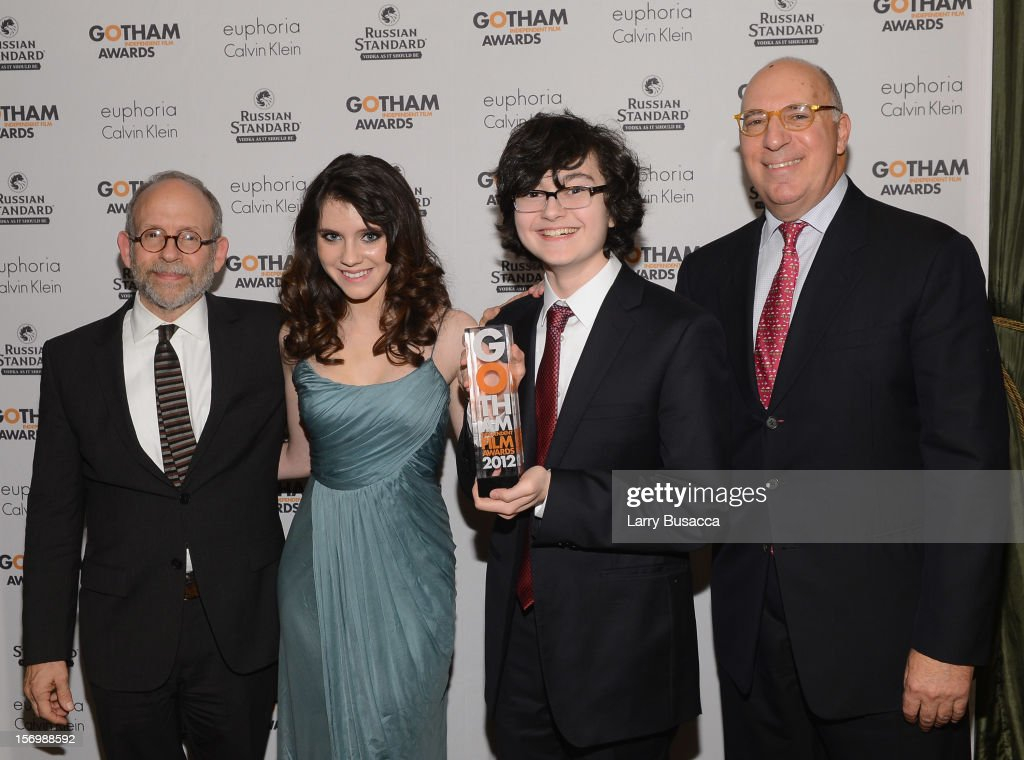 <a gi-track='captionPersonalityLinkClicked' href=/galleries/search?phrase=Bob+Balaban&family=editorial&specificpeople=220226 ng-click='$event.stopPropagation()'>Bob Balaban</a>, <a gi-track='captionPersonalityLinkClicked' href=/galleries/search?phrase=Kara+Hayward&family=editorial&specificpeople=9330952 ng-click='$event.stopPropagation()'>Kara Hayward</a>, <a gi-track='captionPersonalityLinkClicked' href=/galleries/search?phrase=Jared+Gilman&family=editorial&specificpeople=9330951 ng-click='$event.stopPropagation()'>Jared Gilman</a>, and Steven Rales attend the IFP's 22nd Annual Gotham Independent Film Awards at Cipriani Wall Street on November 26, 2012 in New York City.