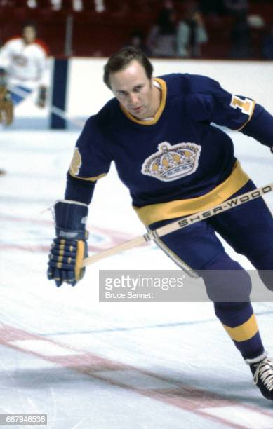 Bob Berry of the Los Angeles Kings skates on the ice during warmups before an NHL game against the Montreal Canadiens circa 1976 at the Montreal...