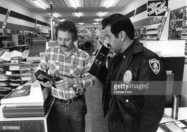 Bob Bertram Gambles store gets instructions from Brighton police Lt art Quintana on how to use C B equipment Credit The Denver Post