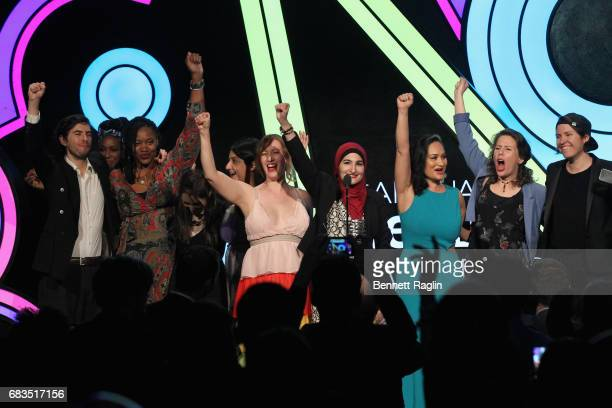 Bob Bland Linda Sarsour and Carmen Perez CoChairs of The Women's March speak onstage at the The 21st Annual Webby Awards at Cipriani Wall Street on...
