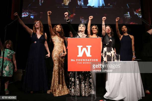 Bob Bland Tamika D Mallory Linda Sarsour Carmen Perez Cassidy Findley speak onstage at the Ms Foundation for Women 2017 Gloria Awards Gala After...
