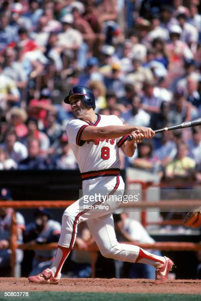 Bob Boone of the California Angels swings at the pitch during a 1982 season game at Anaheim Stadium in Anaheim California