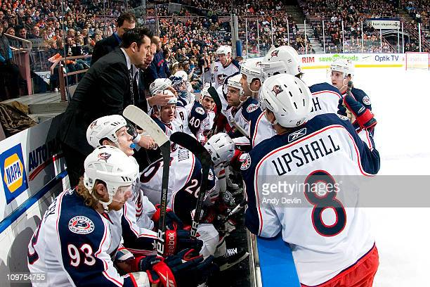 Bob Boughner assistant coach for the Columbus Blue Jackets strategizes during a last minute timeout against the Edmonton Oilers at Rexall Place on...