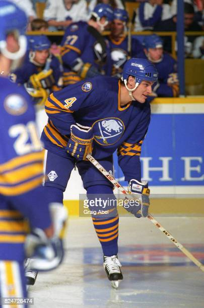 Bob Boughner of the Buffalo Sabres watches the play against the Toronto Maple Leafs during NHL preseason action on October 2 1995 at Maple Leaf...