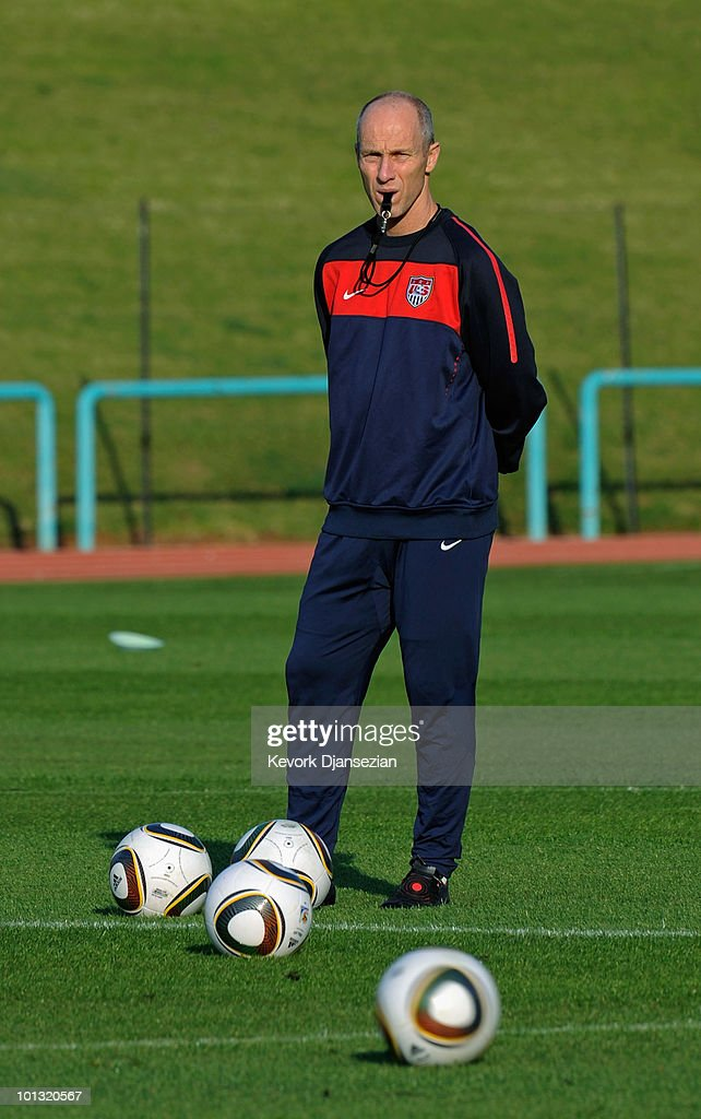 <a gi-track='captionPersonalityLinkClicked' href=/galleries/search?phrase=Bob+Bradley&family=editorial&specificpeople=685515 ng-click='$event.stopPropagation()'>Bob Bradley</a> coach of USA soccer team during training on June 1, 2010 in Pretoria, South Africa. USA will face England in their 2010 World Cup opener on June 12.